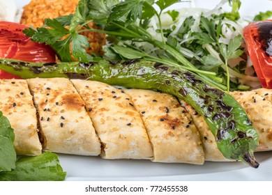 Sish kebab, Turkish kebab on plate.