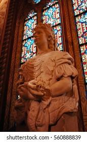 Sisi(Empress Elisabeth of Austria) Statue, Budapest Matyas Church Matthias Hungary Eastern Europe (October, 2014)