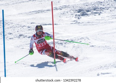 SISIIS HINTERREITNER AND takes part in the RACE run for the men´s Slalom race of the FIS Alpine Ski World Cup Finals at Soldeu-El Tarter in Andorra, on March 17, 2019.