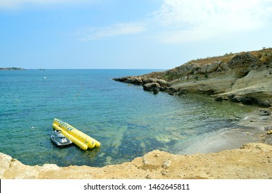 Sissi, Crete, Greece - June 11, 2019 : Jet ski and Inflatable for hire in Sissi harbour in Crete the largest and most populated of the Greek islands