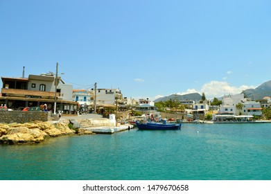 Sissi Crete, Greece - June 11, 2019 : Sissi harbour in Crete the largest and most populated of the Greek islands