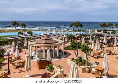 SISSI, CRETE, GREECE - MAY 16, 2017: 5 star Kalimera Kriti Hotel & Village Resort (415 guestrooms) - three Cretan style villages, over 60 acres of colorful Mediterranean gardens and long sandy beach.