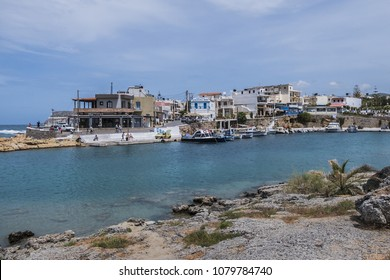 SISSI, CRETE, GREECE - MAY 17, 2017: Picturesque view seaside village Sisi (Sissi) - small Greek resort with many bars, taverns, restaurants, souvenir shops in municipal unit Vrachasi, Lasithi, Crete.