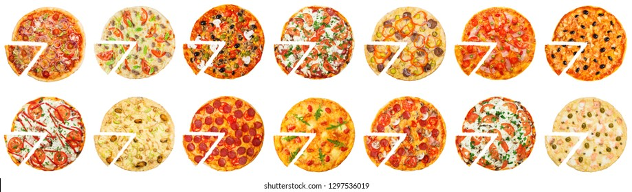 Sisteen different pizzas set on white background, top view