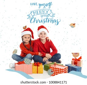 Have yourself a merry little christmas images stock photos sister and brother in santa hats with christmas gifts isolated on white have yourself solutioingenieria Choice Image