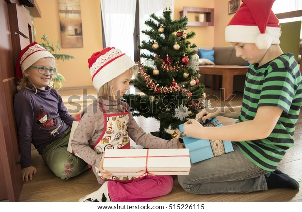 Christmas Presents For Brother.Sister Giving Christmas Presents Her Brother Stock Photo