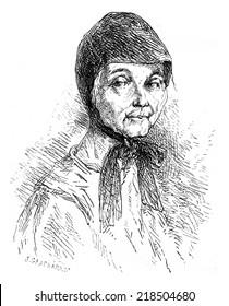 Sister Mary recluse Solovetsky, vintage engraved illustration. Le Tour du Monde, Travel Journal, (1872).