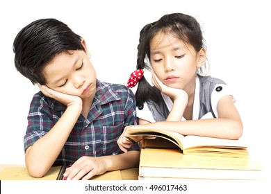 Sister try to teach her naughty younger brother to read a book isolated over white background