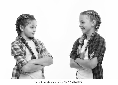 Sisterhood goals. Sisters together isolated white background. Sisterly relationship. Sisterhood is unconditional love. Girls cool confident sisters with folded arms. Friendship support and trust.