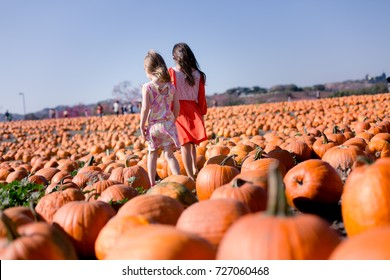 Sisters are enjoying their time together at a pumpkin patch during fall.