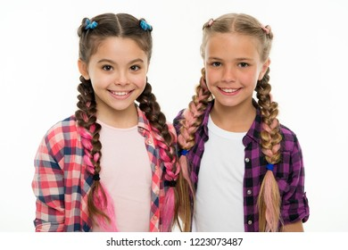 Sisters family look outfit. Dress similar with best friend. Dress to match your friend. Best friend dressing. Girls friends wear similar outfits have same hairstyle kanekalon braids white background.