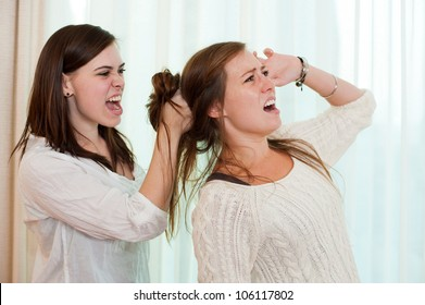 Sisters having an argument and getting physical with a fight.