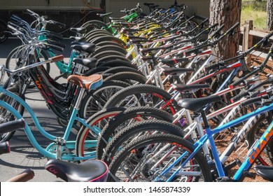 Sisters, Oregon - 7/20/2019: bicycles for rent at Black Butte Ranch near Sisters, Oregon