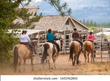 Sisters, Oregon - 7/30/2008: A trail ride group returning to the stables at Black Butte Ranch near Sisters