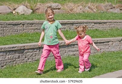 Sisters Walking in the Park