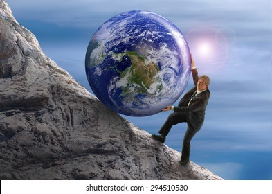 Sisyphus metaphor man struggling to roll a giant Earth rock ball up hill representing business struggles, hard work, environmental threat risk, determination and more. Some elements provided by Nasa.