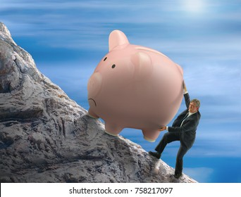 Sisyphus metaphor man trying to push giant piggy bank up a mountain representing constant struggle to save money for retirement, big purchases, savings goals, financial security and business success.