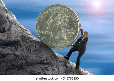 Sisyphus metaphor showing man struggling to roll a giant coin up hill representing financial stress, business struggles, stock market success, economic hardship, personal struggles and determination.