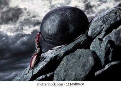 Sisyphus metaphore. Silhouette of businessman pushing heavy stone boulder up on hill.
