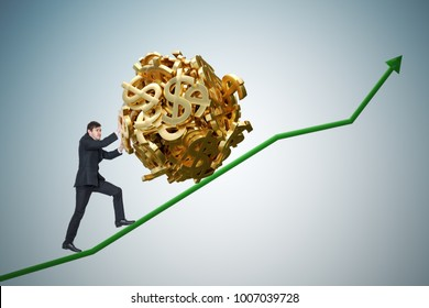 Sisyphus metaphore. Young businessman is maximizing earnings and pushing heavy boulder made of dollar symbol up on chart.