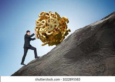 Sisyphus metaphore. Young businessman is maximizing earnings and pushing heavy boulder made of dollar symbol up on hill.