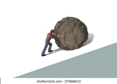 Sisyphus Pushing a Boulder Uphill