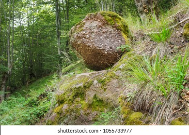 Sisyphus rock natural representation, covered in colorful green and yellow moss