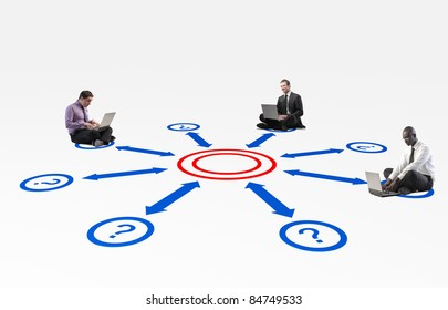 sit business people connect with laptop