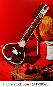 The sitar, Indian classical music instrument.