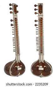 Sitar, a string instrument from India, 2 angles, separated/isolated on white background.