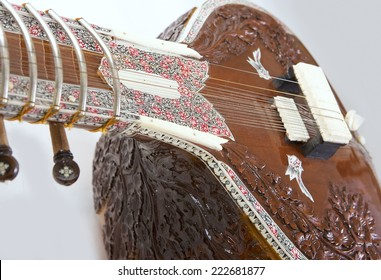 Sitar, a string Traditional Indian musical instrument, close-up