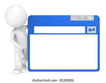 A Site. 3D Little Human Character holding a Simplified Browser Window
