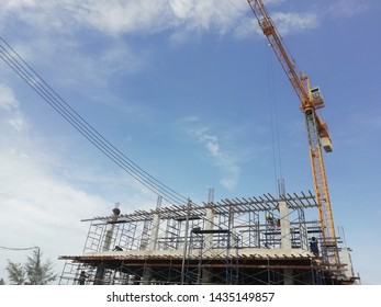 Site construction and worker with sky background