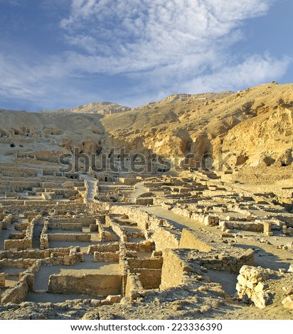 The site Deir al-Medina, Ancient Egyptian workers' town near the Valley of Kings at Luxor. Egypt, UNESCO World Heritage Site
