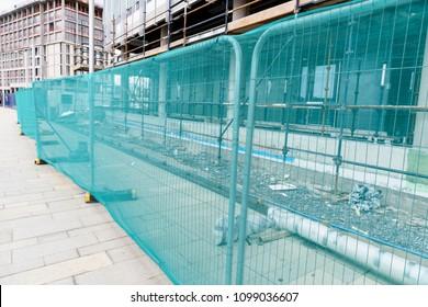 Site fencing around a building site.