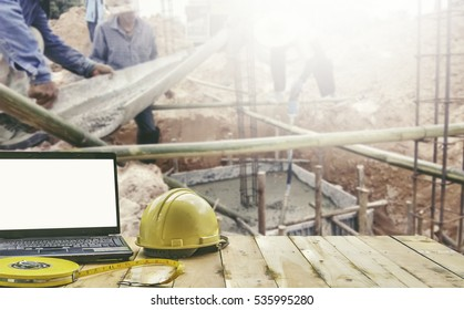 Site office and concrete working background