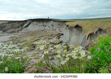 the site of permafrost in the form of an ancient ice layer