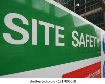 site safety sign in a building site (construction site)