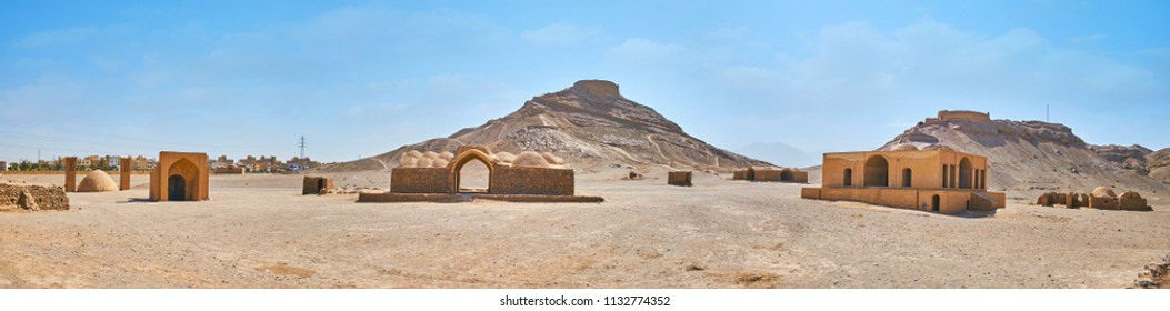 The site of Towers of Silence (Dakhma) is the famous historical and religious Zoroastrian complex, that were used for burial ceremonies, Yazd, Iran.