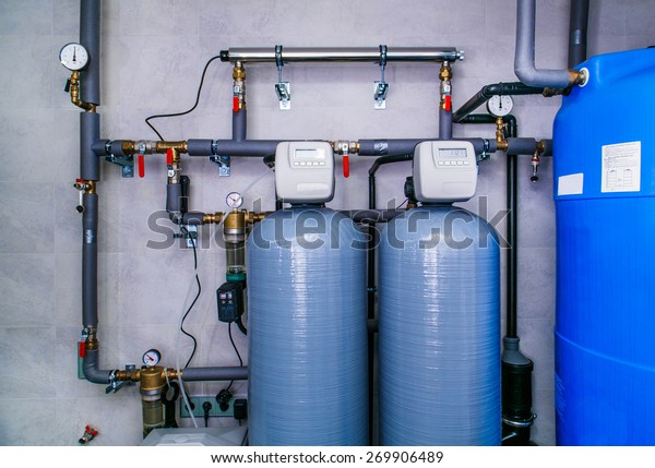 site wastewater treatment system with sensors and indicators.