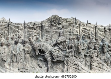 The site of Xanadu, Inner Mongolia, China - July 26, 2017: Reliefs and the statue of Kublai Khan grand son of Genghis Khan.The site under the protection of UNESCO world heritage.