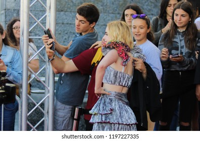 "Sitges, Barcelona (Spain) - October 7th 2018. Ross Lynch and Kiernan Shipka arrive at the Sitges Festival red carpet to premiere their new Netflix series ""Chilling Adventures of Sabrina""."