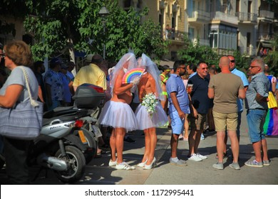SITGES, CATALONIA / SPAIN - JUNE 17, 2018: Gay Pride Sitges 2018. Same-sex marriage