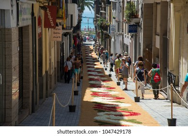 SITGES, CATALONIA / SPAIN - JUNE 18, 2017: CORPUS SITGES 2017. Flowers carpets on the Sitges streets