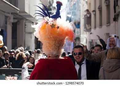 Sitges, Catalunya / Spain - February 2018: Sitges carnival is one of the biggest in Europe and attracts 25000 tourists and dozens of participants each February.