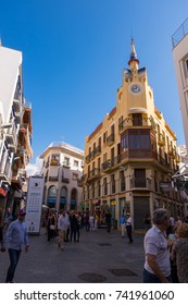 SITGES, OCTOBER 2017: The clock's house in Sitges, Barcelona, Spain.