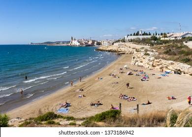 Sitges, Spain - 5th October 2017: Platja dels Balmins. This is a nudist beach.