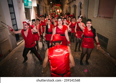 SITGES, SPAIN - FEBRUARY 14, 2015: Sitges Carnival's Carnestoltes, Batucada band add rhythm to the parade celebrated on February 14, 2015 in Sitges, Spain.