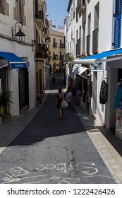 Sitges, Spain. July 10, 2018. Sitges is a beautiful town in Catalunya near Barcelona. With narrow streets and a beautiful sea