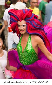 SITGES, SPAIN - JUNE 15, 2014: Person in costume with plumage at Gay pride parade in Sitges.